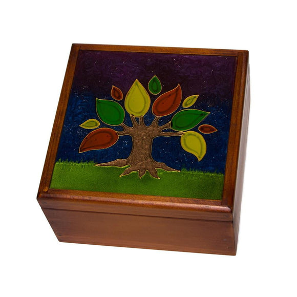 Vitrofusion Glass top on Wooden Tea Box - Congo Costa Rica