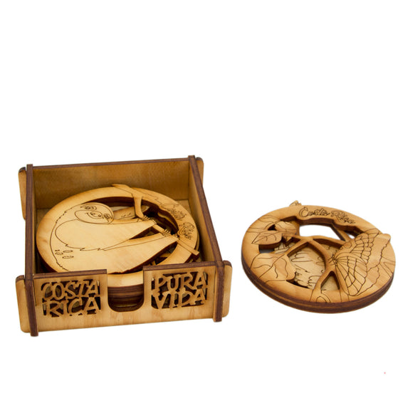 Wood Coaster Set - Congo Costa Rica