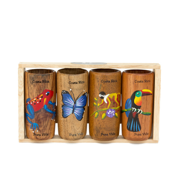 Wooden Shot Glasses - Set of 4 - Congo Costa Rica
