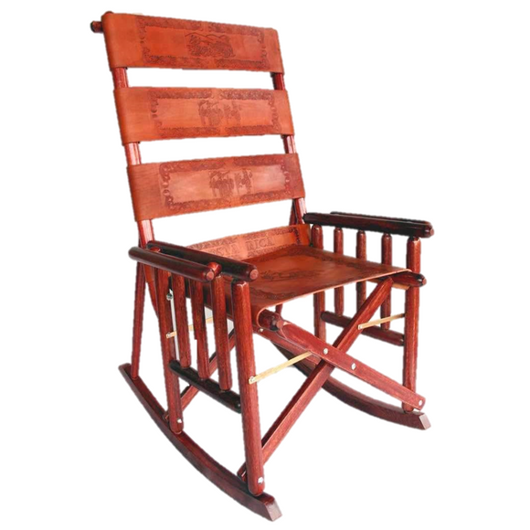 Costa Rican Handmade Foldable Rocking Chair - Wood & Leather - Congo Costa Rica