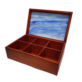 Vitrofusion Glass top on Wooden Tea Box - Large - Congo Costa Rica