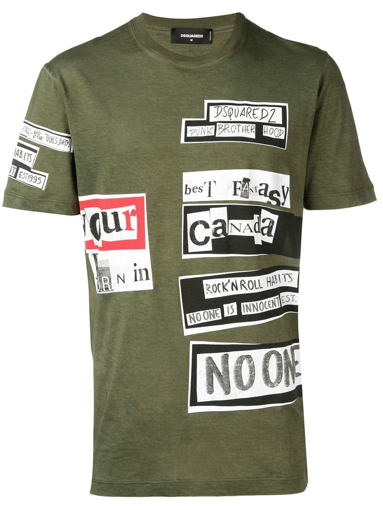 CAMISETA COLLAGE VERDE MILITAR