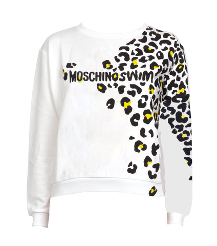 SUDADERA MOSCHINO SWIM ANIMAL PRINT BLANCA