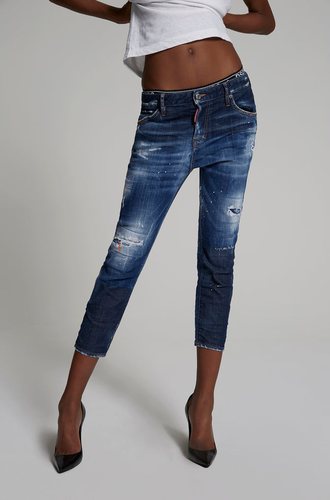 DARK ORANGE MACCHIA COOL GIRL CROPPED JEANS