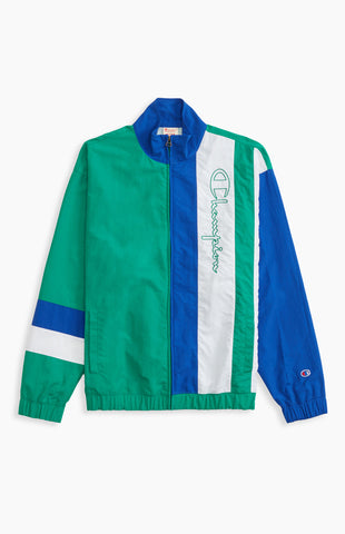 CHAQUETA TRACK VERDE COLOR BLOCK