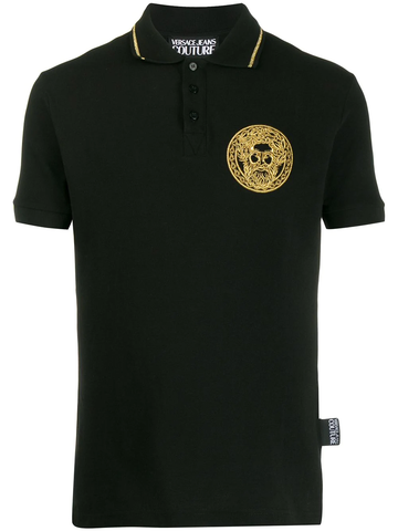 POLO NEGRO BORDADO DORADO