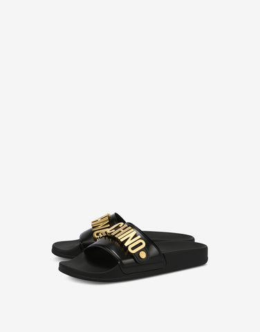 CHANCLAS LOGOTIPO DORADO