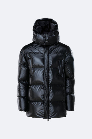 PUFFER HOODED COAT NEGRO BRILLO