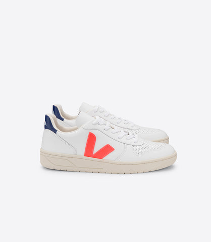 V-10 LEATHER EXTRA WHITE ORANGE FLUO COBALT (UNISEX)