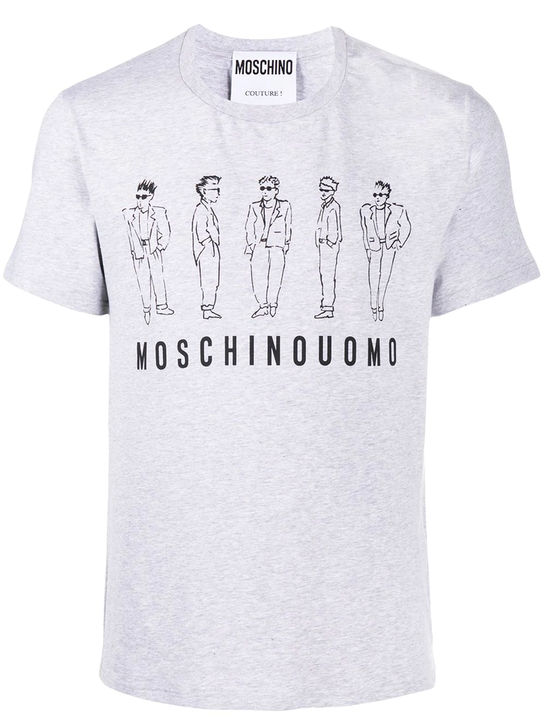 CAMISETA MOSCHINO UOMO STRETCH GRIS