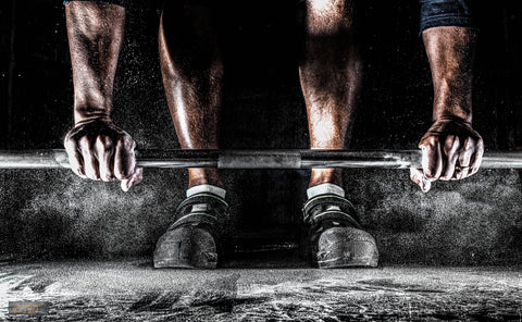 Barbell with Hands, Feet, Chalk Flying - TDISports.com