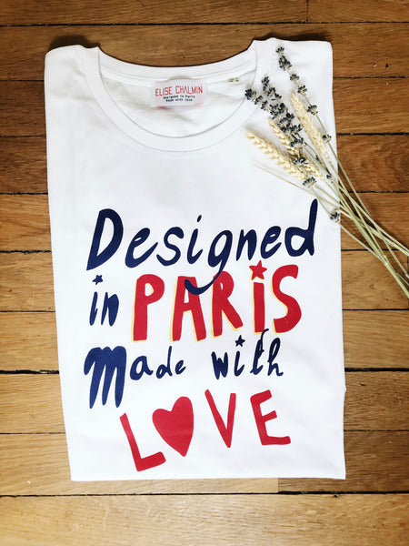 T-shirt blanc Homme Le pic Designed in Paris Made with Love Elise Chalmin