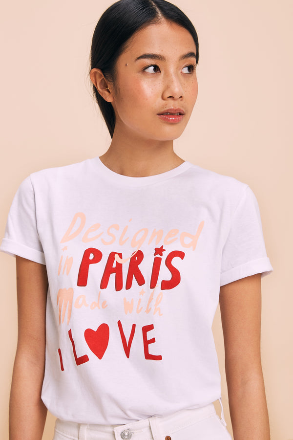 T-shirt en coton biologique blanc Odéon, imprimé Designed in paris made with Love Elise Chalmin