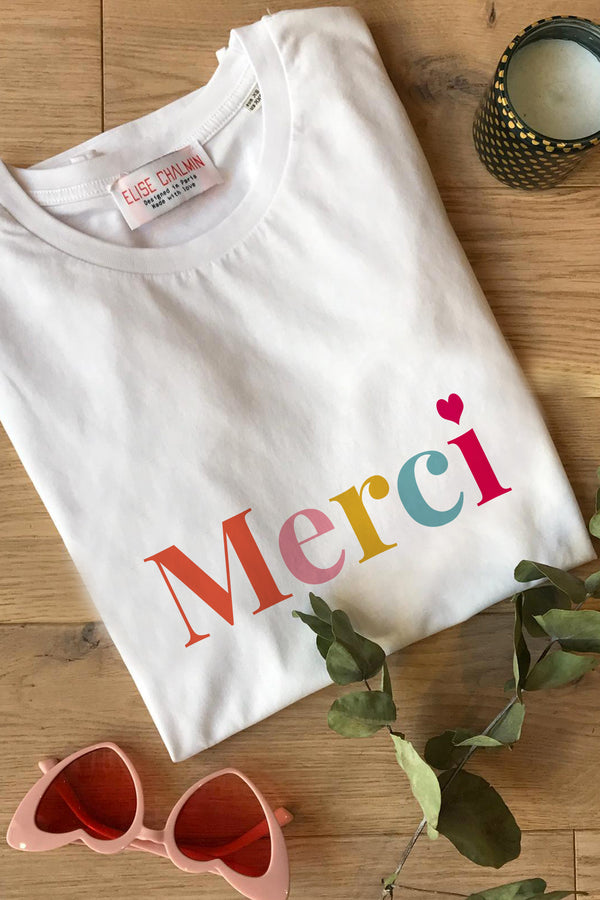 T-shirt blanc print merci digital fondation hopitaux france elise chalmin