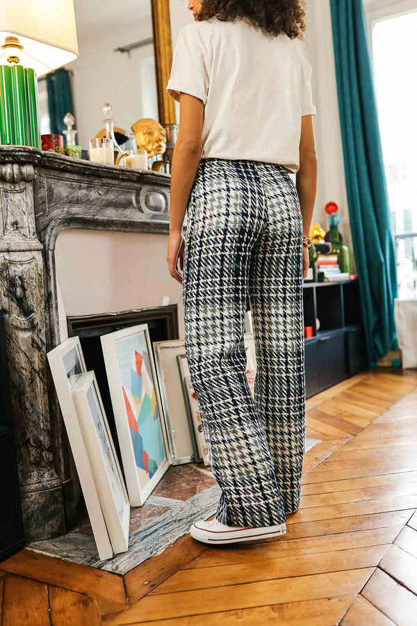 Pantalon Gilbert tweed Bleu
