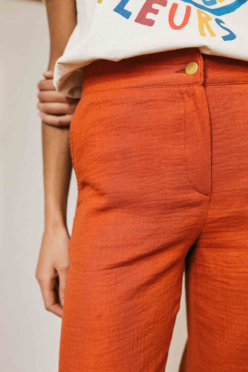 Pantalon en gaze de coton Julio brique