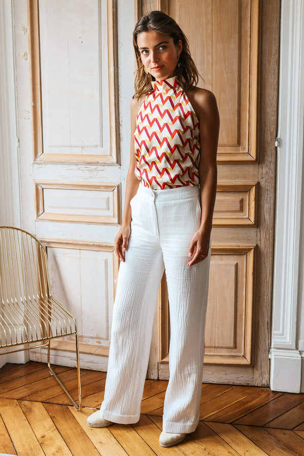 Pantalon en gaze de coton Julio écru Made in France Elise Chalmin