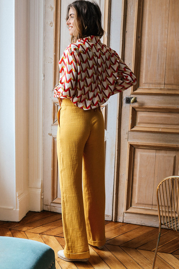 Pantalon en gaze de coton Julio ocre Made in France Elise Chalmin