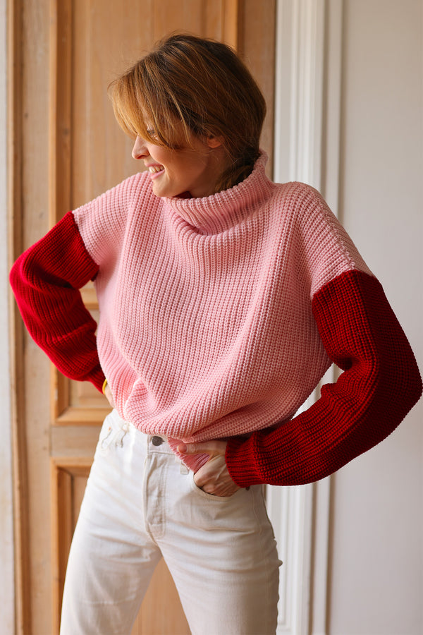 pull lou rose et rouge elise chalmin laine made in france