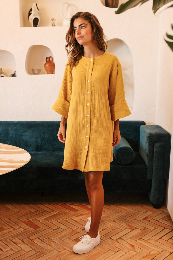 Robe Flore en gaze de coton ocre Made in France Elise Chalmin