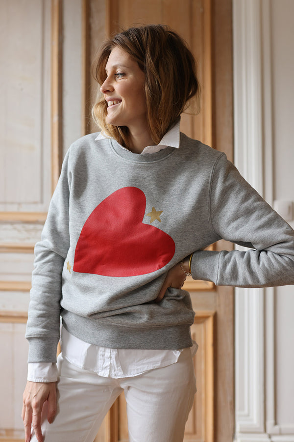 sweat shirt lucas gris chiné elise chalmin