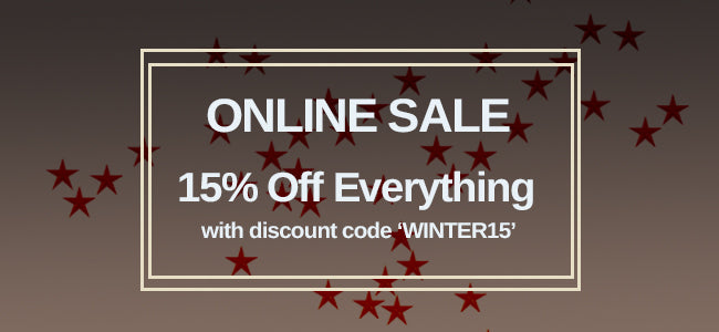 15 per cent off every order with discount code 'WINTER15'