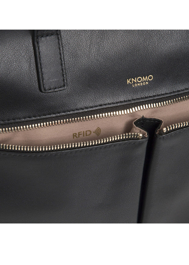 "Knomo Mayfair Luxe Audley 14"" Slim Leather Bag Black + Free Wireless Bluetooth Earbuds Earphones! - London Luggage"