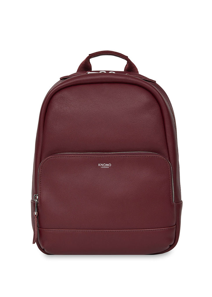"Knomo Mayfair Luxe Mini Mount 10"" Small Leather Backpack Burgundy + Free Wireless Bluetooth Earbuds Earphones! - London Luggage"
