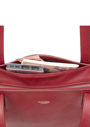 "Knomo Mayfair Luxe Maddox 15"" Leather Top-Zip Tote Burgundy - London Luggage"