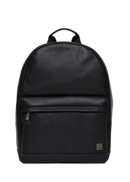 "Knomo Barbican Albion 15"" Leather Backpack Black + Free Wireless Bluetooth Earbuds Earphones! - London Luggage"