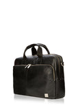 "Knomo Brompton Classic Amesbury 15.6"" Double Zip Leather Briefcase - London Luggage"