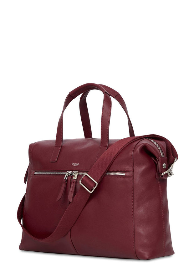 "Knomo Mayfair Luxe Audley 14"" Slim Leather Bag Burgundy - London Luggage"