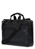 "Knomo Barbican Roscoe 15"" Leather Briefcase Black - London Luggage"