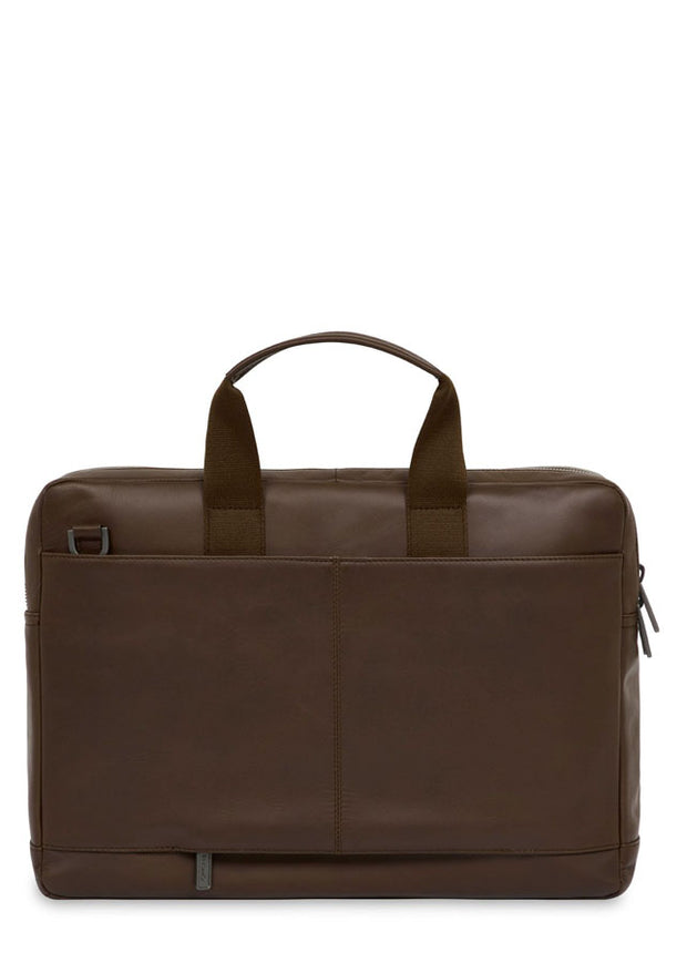 "Knomo Barbican Roscoe 15"" Leather Briefcase Brown - London Luggage"