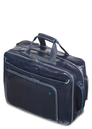 Piquadro Cabin trolley with double notebook and iPad Blue Square- Black - London Luggage