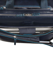 Piquadro Cabin trolley with double notebook and iPad Blue Square- Night blue - London Luggage