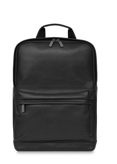"Knomo Barbican Brackley 15.6"" Leather Backpack Black - London Luggage"