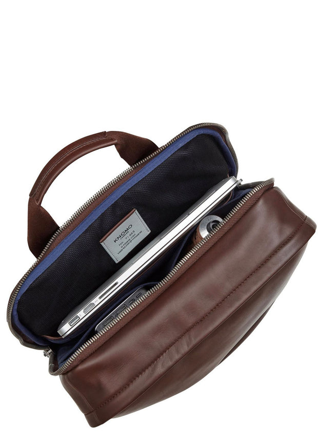 "Knomo Barbican Brackley 15.6"" Leather Backpack Brown - London Luggage"