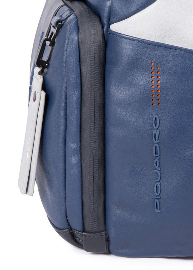 Piquadro Customizable computer backpack with iPad® compartment, CONNEQU, anti-theft cable and RFID anti-fraud BagMotic - Blue/Grey - London Luggage