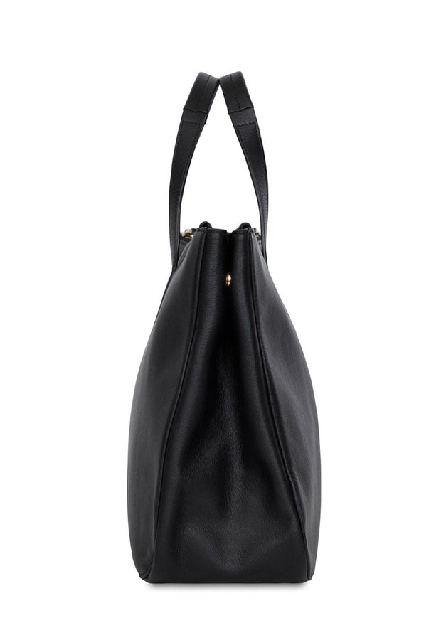 "Knomo Mayfair Luxe Derby Leather Tote 13"" Black - London Luggage"