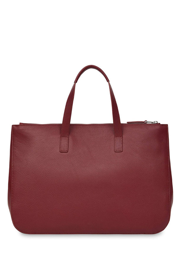 "Knomo Mayfair Luxe Derby Leather Tote 13"" Burgundy + Free Wireless Bluetooth Earbuds Earphones! - London Luggage"