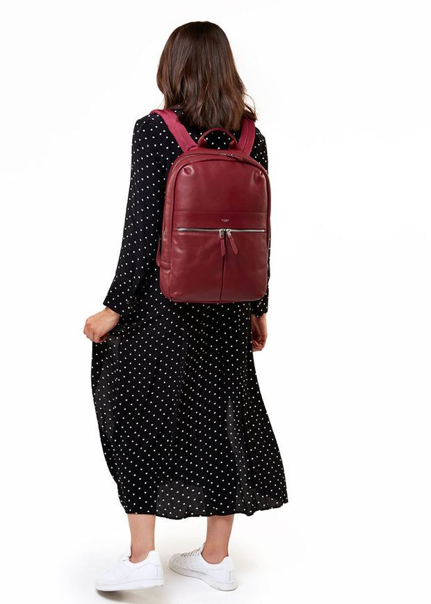 "Knomo Mayfair Luxe Beaux 14"" Leather Backpack Burgundy + Free Wireless Bluetooth Earbuds Earphones! - London Luggage"