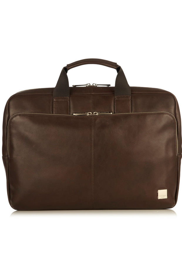 "Knomo Brompton Classic Newbury 15"" Single Zip Leather Briefcase - London Luggage"