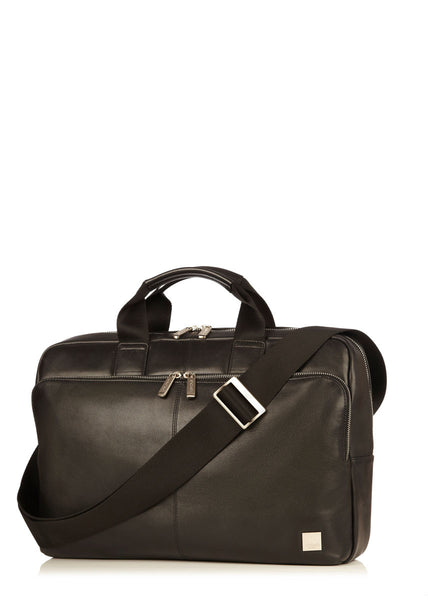 "Knomo Brompton Classic Newbury 15"" Single Zip Leather Briefcase + Free Wireless Bluetooth Earbuds Earphones! - London Luggage"