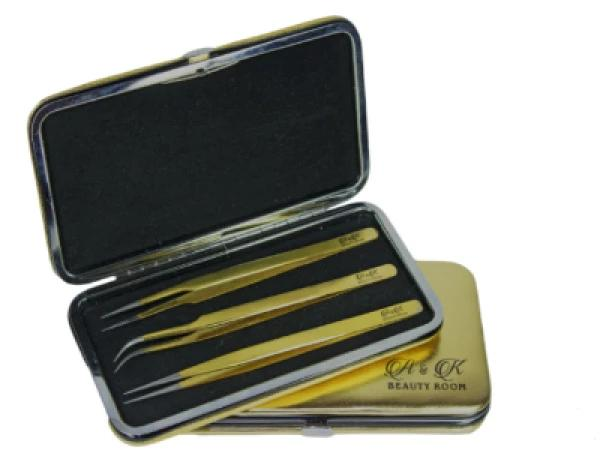 A&k Tweezers Magnetic Kit 3Pcs Golden