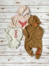 State Mustard Hooded Snap Romper