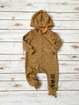 Iowa Mustard Hooded Snap Romper
