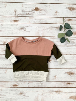 Rose Colorblock Baggy Pullover