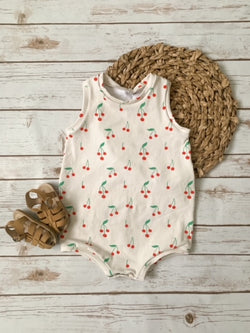 Cherry Summer Tank Romper