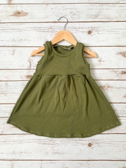 Olive Ribbed Tank Dress